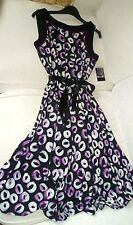 SANDRA DARREN BLACK PATERNED CALF LENGTH DRESS,UK 6-8-SMALL,BRAND NEW WITH TAGS