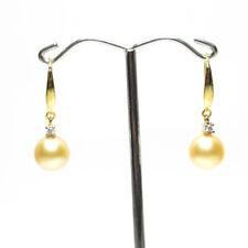 South Sea Pearl Earrings, 9.5mm pearls,18k gold hook, Natural Golden, Australian