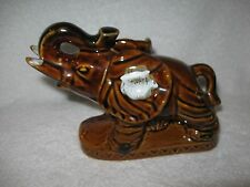 Brown Ceramic Elephant Figurine Brown Glazed Ceramic Elephant Figure