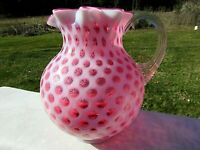"Fenton-L G Wright Cranberry Opalescent Honeycomb Coin Dot Milk Pitcher 6.5""H"