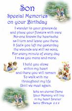 Waterproof Birthday memorial Graveside  Card grandson Son Nephew C4