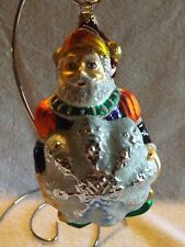 Vintage Slavic Treasures Jester Santa Holding Snowflake Glass Ornament