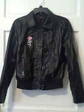Neu Look Ladies Black Faux Leather Bomber Jacket Size L