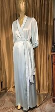 SILK  Peignoir Long Robe 40s Hollywood Style Blue & Black Accent Trim