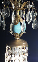 1o5 SWAG  lamp chandelier crystal prisms Vintage Icy Blue Turquoise tole Brass