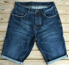"Men`s Cut Off Denim Shorts Waist Size 28"" Waist Dark Blue Button Fly"