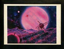 Space postcard Russian Concept Art Artist Sokolov 1978 chrome Jupiter Satellite