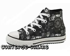 KIDS Boys Girl CONVERSE All Star BLACK GRUNGE LEATHER HI TOP Trainers SIZE UK 11