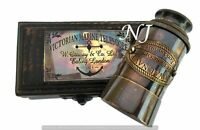 Victorian Brass Telescope w Box Antique Finish Nautical Maritime Spyglass