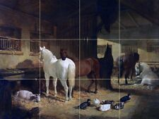 FOUR HORSES IN A BARN Tile Mural Kitchen Bathroom Wall Backsplash Art 24x18