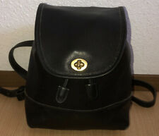 Vintage COACH Black Leather Mini Backpack Genuine Turnlock Top Handle~#9960