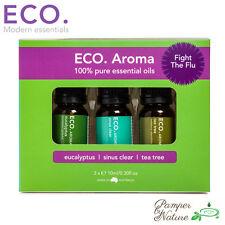 Eco Aroma 100 Pure Essential Oils - Fight The Flu Trio 3 X 10ml