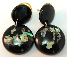Vintage Earrings w/ Round Black Plastic & Inlay Abalone Shell Dangle Silver Tone