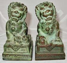 """Antique ? Pair of Chinese Bronze Foo Dogs or Shi Shi Temple Lions  (4.85"""")"""