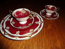VINTAGE SHELLEY DINNER SET (7 pieces) ENGLAND MAROON #11287/41