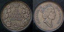 1908-1998 Canada Fifty Cent, Sterling Silver, Antique Finish