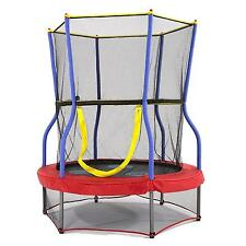 Round Zoo Adventure Bouncer Trampoline With Enclosure 48 In. Kids Toddler New