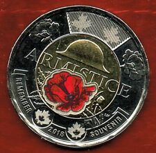 ARMISTICE...1918-2018 199TH ANNIVERSARY TOONIE..COLOURED POPPY