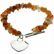 """925 Silver Carnelian Chip Heart Bracelet, 7"""""""