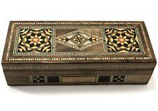 Vintage Wooden Trinket Box Carved Art Handmade Jewelry Storage Holy Land Made 1
