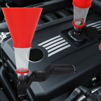AUTO CAR VEHICLE OIL ADDING PLASTIC FUNNEL WITH CLAMP BASE BRACKET SUPER