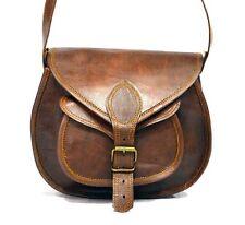 GIRLS Vintage Genuine Brown Leather Messenger Shoulder Cross Body Bag Handmade