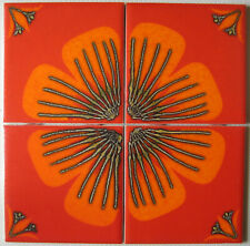 Vintage/Retro Ceramic Wall Tiles Set of 4 Orange/Red Floral Cristal H&R Johnson