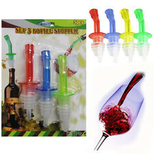 4* Liquor Bottle Pourers Plastic For Wine Spirits Oil Pour Dispenser Aid & Cap