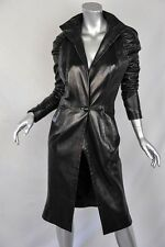 JEAN CLAUDE JITROIS Black*LAMBSKIN LEATHER COAT*Pleated Shoulder Long Jacket S/M