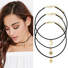 NEW 3Pcs/Set Vintage Gold Star Moon Sun Pendant Charm Black Cord Choker Necklace