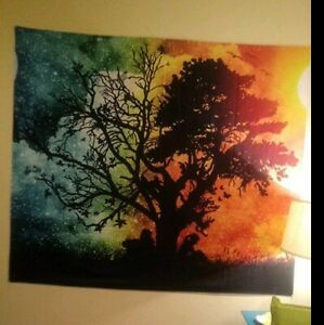 Tapestry wall hanging large Seasons Change Tree Colorful