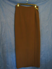 WORTH NEW YORK Chocolate Brown WOOL BLEND CREPE KNIT WRAP SKIRT Stretch/Lined 6