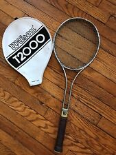 Vintage Wilson T2000 Tennis Racket With Genuine Leather Handle Made In USA