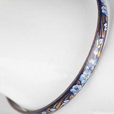 Vintage Emaille Armreif ∅ 6,2 Blumen Schmuck 70er blau, gold, weiß Armring 11
