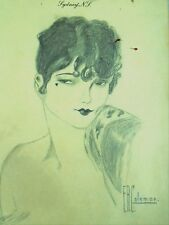 1930's Pencil Drawing Art Deco Sultry Woman Sydney NS Signed F R Coleman