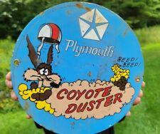 Old Vintage Plymouth Dodge Porcelain Dealership Gas Station Sign Coyote Duster