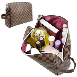 LUXOURIA Travel Checkered Makeup Bag Zipper Pouch Travel Cosmetic Organizer