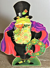 VICTORIAN CHRISTMAS DECORATION Caped Frog STANDING DISPLAY CARD Mint Merrimack