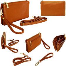 Small Tan Clutch Bag Multi Pocket Cross Body Handbag Shoulder Wallet Coin Purse