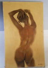 Old Antique Vintage Nude Naked Lady Woman Oil Painting Weinberg Art Hand Drawn