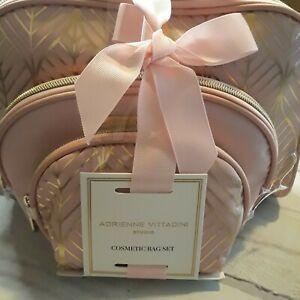 Adrienne Vittadini Blush Linear Foil Cosmetic Bag Three Dome  Set Pink G-218