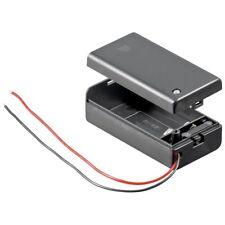 Batteriehalter Fach für 1x 9 Volt Block mit Anschlußkabel, Schalter und Deckel