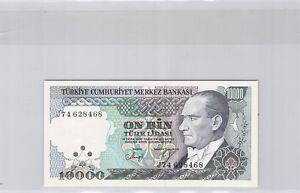 Turquie Lot de deux 10 000 Lira 1970 n° D51251083 & J74628468 Pick 199