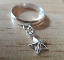 size 6 Sterling Silver 5 Point 9mm Star Charm Dangle Ring