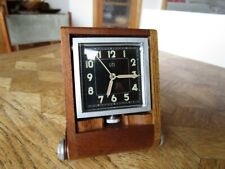 Vintage Wood & Aluminium UTI 2 Days Travel Alarm Clock / Pendulette. Art Déco.