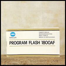 Minolta Flash 1800AF Instruction Manual Program 4 35mm Film Camera