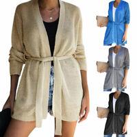 Womens Tie Belt Knitted Cardigan Jumper Ladies Plain Casual Sweater Tops Coat