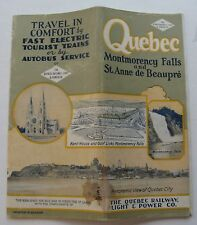 Quebec Railway, Light & Power Co Travel Guide For Quebec, Montmorency Canada
