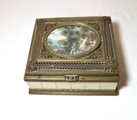 antique ornate Italy bronze filigree celluloid landscape mini painting wood box