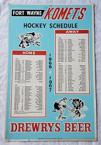1966-67 Fort Wayne Komets Hockey Schedule Poster Sign Drewrys Beer Advertising